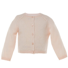 BETHANNIE - CASHMERE POINTELLE CARDIGAN - PALE PINK