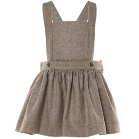 BIRDIE - WOOL CASHMERE SUSPENDER SKIRT - CHOCOLATE