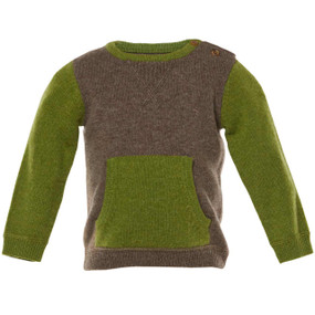 BARRETT - CASHMERE KANGAROO POUCH SWEATER - CHOCOLATE/GREEN