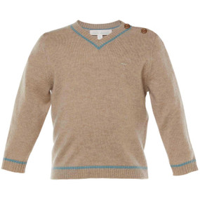 BRETT - V NECK CASHMERE PULL OVER - OATMEAL/TEAL