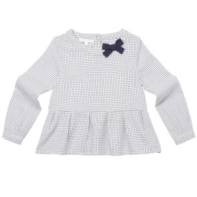 NAVY CHECK BOW BLOUSE