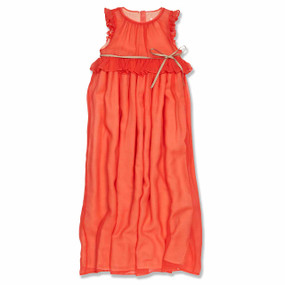 CORAL SILK PRINCESS DRESS