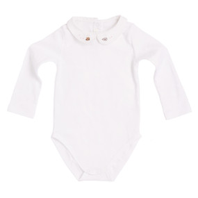 PETER PAN COLLAR ONESIE WITH CAT MOTIF EMBROIDERY