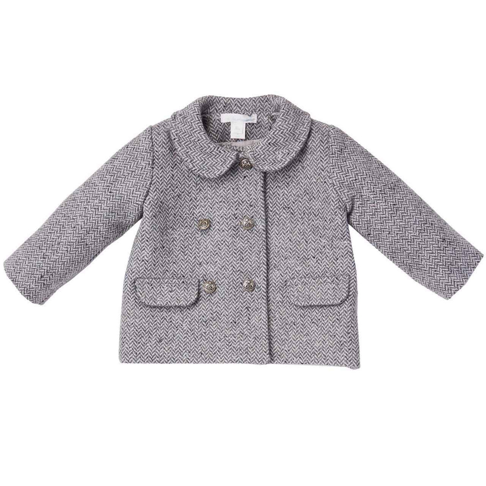 BABY GIRL HERRINGBONE COAT - Marie-Chantal Ltd