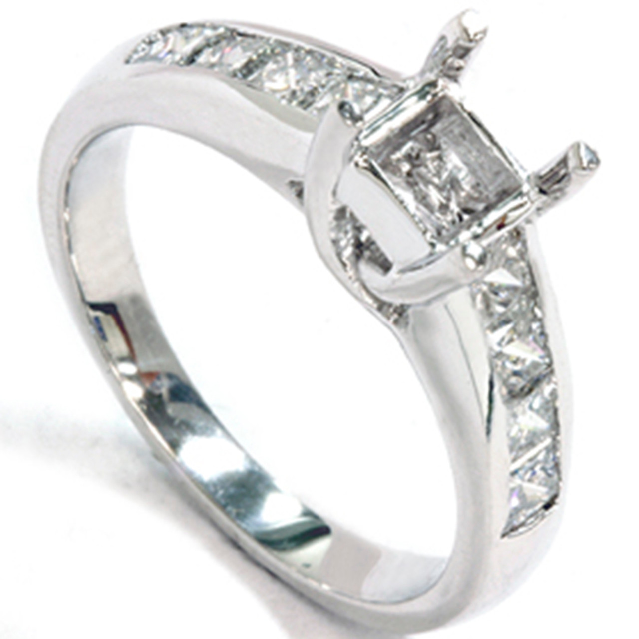 1ct princess cut cathedral engagement ring setting