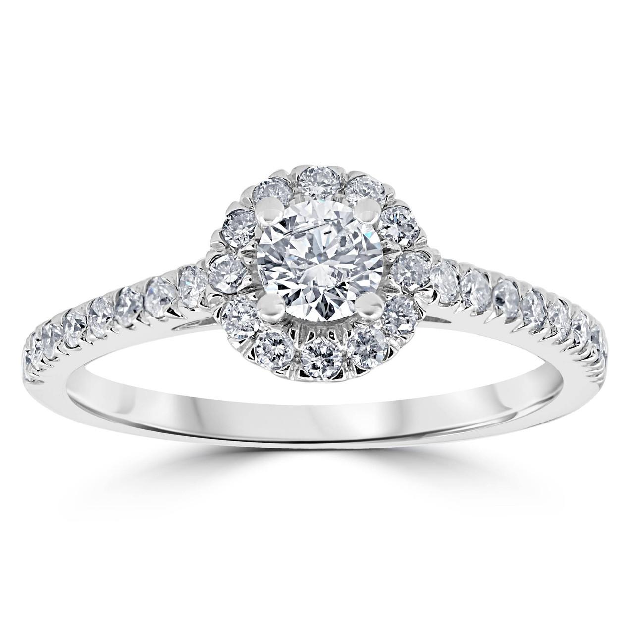 7 8ct Halo Lab Created Diamond Engagement Ring 14k White Gold