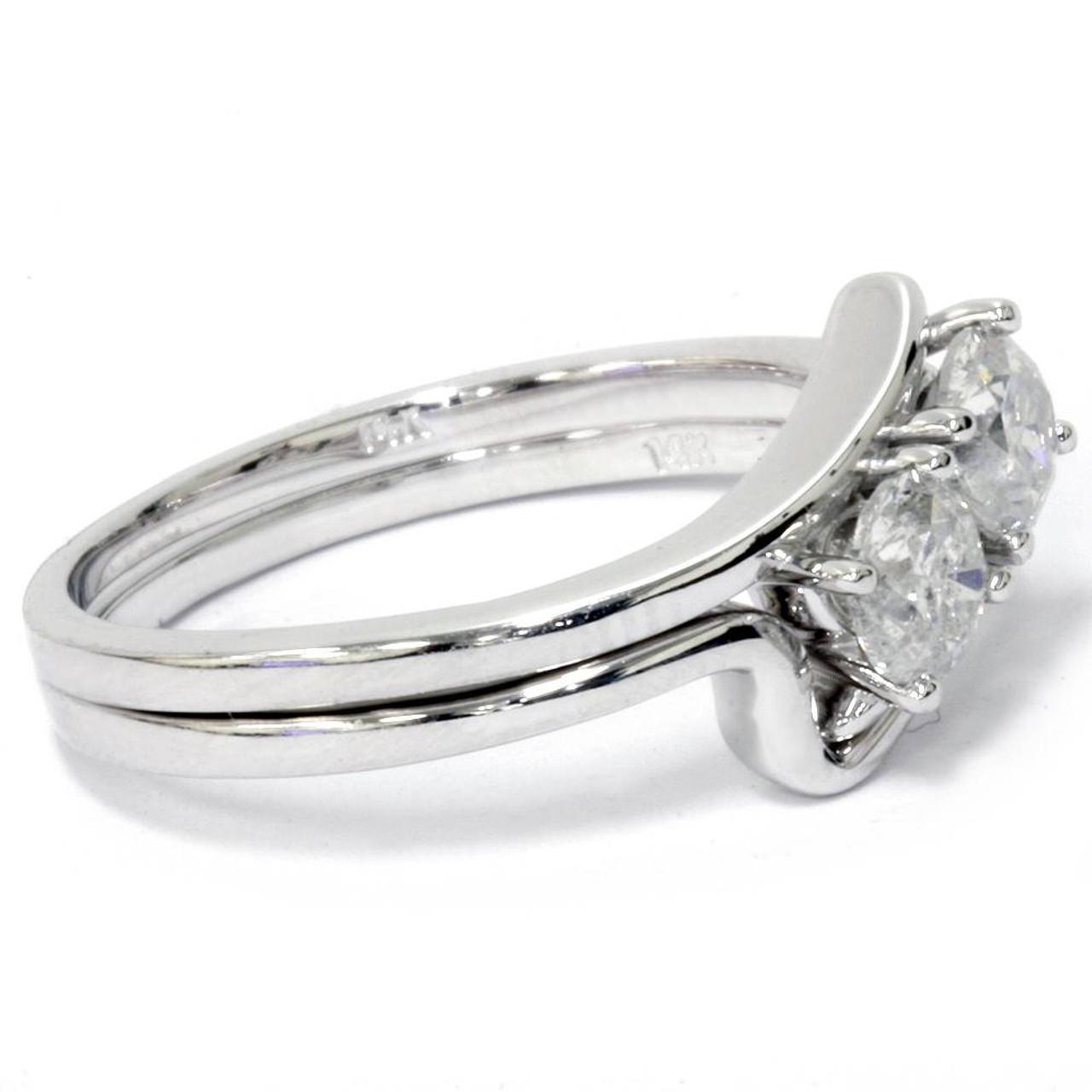 34ct two stone diamond forever us engagement ring set 10k white gold - 10k Wedding Ring