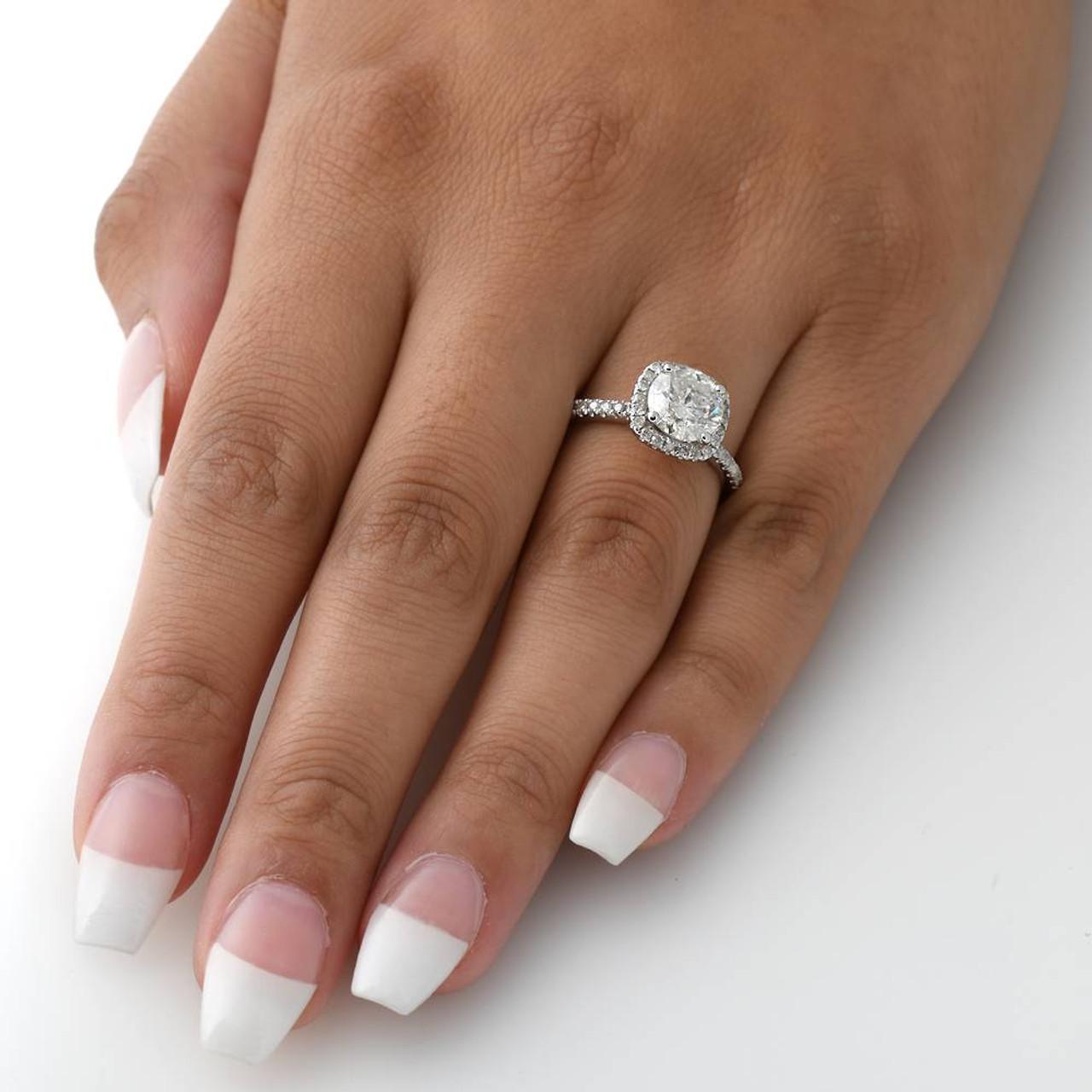 2 Cttw Diamond Engagement Ring Cushion Halo Round Cut 14k White Gold