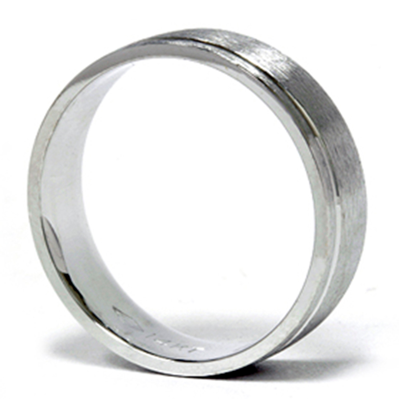 Mens 6mm Comfort Fit Wedding Band Ring 14K White Gold