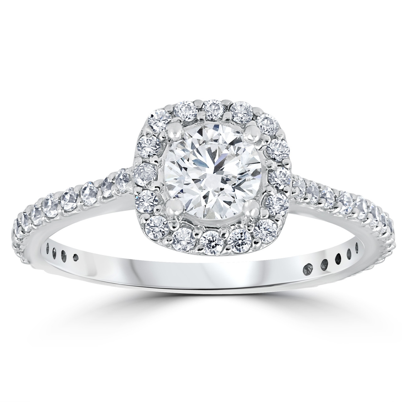 1 1 5ct Round Diamond Cushion Halo Engagement Ring 14k White Gold