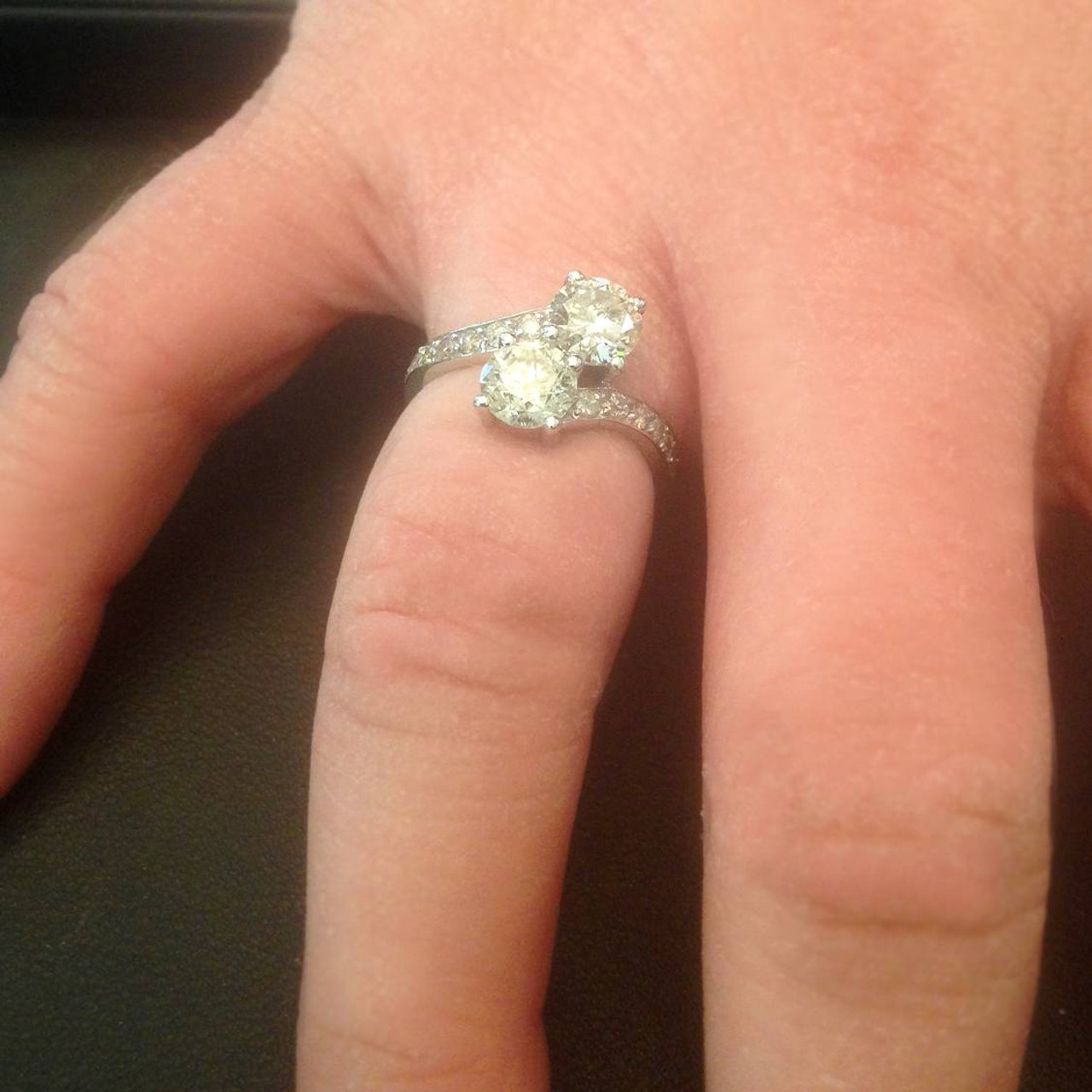 2 Carat Forever Us Two Stone Round Diamond Engagement Ring 14k White Gold