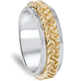 7mm Hand braided 10K Gold Two Tone Comfort Fit Wedding Band
