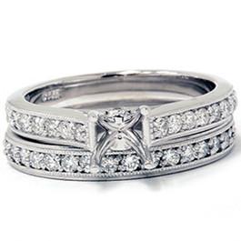 3/4ct SI Diamond Engagement Mount Wedding Ring Set 14K White Gold (G/H, I1)