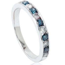 1/2ct Blue & White Diamond Channel Set Wedding Ring 14K White Gold (Blue, SI2)