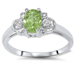 5/8Ct Peridot & Diamond Ring 14K White Gold (G/H, I1)
