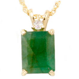 Yellow Gold 1ct Emerald & Diamond Solitaire Pendant (G, I1)