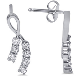 1/2ct Diamond Earrings 14K White Gold