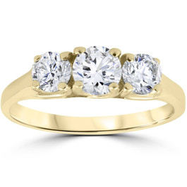 1ct Three Stone Diamond Engagement Womens Anniversary Ring 14k Yellow Gold (G/H, I1)