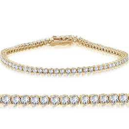 "14k Yellow Gold 3 ct Round Cut Diamond Tennis Bracelet 7"" (L-M-I2-I3) (J-K, I1)"