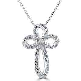 """5/8ct Diamond Cross 14K White Gold With 1"""" Tall (G/H, I1)"""