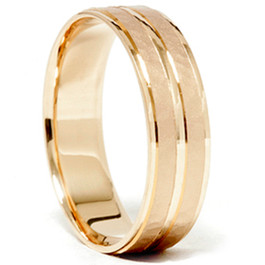 14K Yellow Gold Hammered Comfort Fit Wedding Band Ring