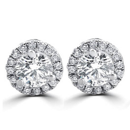 1/2ct Round Diamond Halo Studs 18K White Gold (D, VS(1)-VS(2))