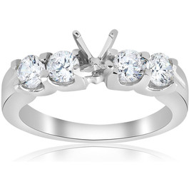 3/4ct Real Diamond Engagement Semi Mount Ring Setting (G/H, I1)