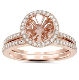 1/3CT Rose Gold Halo Diamond Engagement Ring Setting & Band 14K (H/I, I1-I2)