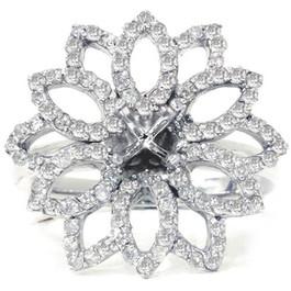 3/4ct Diamond Flower Ring Setting 14K White Gold (G/H, I2)