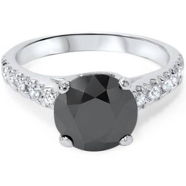 3 1/4 ct 14K White Gold Round Black Diamond Engagement Ring (H-I, I2-I3)