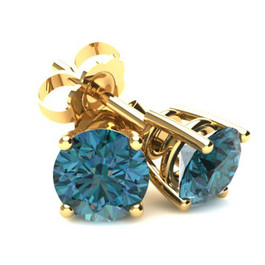 1.50Ct Round Brilliant Cut Heat Treated Blue Diamond Stud Earrings in 14K Gold Basket Setting (Blue, SI2-I1)