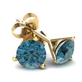 .40Ct Round Brilliant Cut Heat Treated Blue Diamond Stud Earrings in 14K Gold Martini Setting (Blue, SI2-I1)