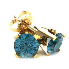 .50Ct Round Brilliant Cut Heat Treated Blue Diamond Stud Earrings in 14K Gold Classic Setting (Blue, SI2-I1)