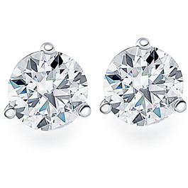 .50Ct Round Brilliant Cut Natural Diamond Stud Earrings in 14K Gold Martini Setting (G/H, I2-I3)