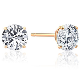 1.25Ct Round Brilliant Cut Natural Quality SI1-SI2 Diamond Stud Earrings in 14K Gold Basket Setting (G/H, SI1-SI2)