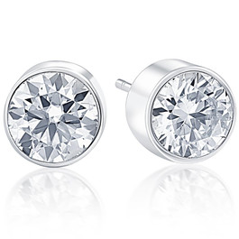 .20Ct Round Brilliant Cut Natural Diamond Stud Earrings Bezel Set in 14K Gold (G/H, I2-I3)