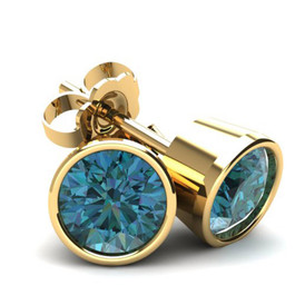 .85Ct Round Brilliant Cut Heat Treated Blue Diamond Stud Earrings in 14K Gold Round Bezel Setting (Blue, SI2-I1)