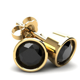 .75Ct Round Brilliant Cut Heat Treated Black Diamond Stud Earrings in 14K Gold Round Bezel Setting (Black, AAA)