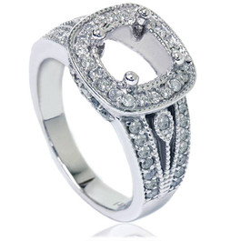 3/4ct Cushion Halo Diamond Ring Setting 14K White Gold (G/H, I1-I2)