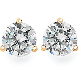 1.25Ct Round Brilliant Cut Natural Quality SI1-SI2 Diamond Stud Earrings in 14K Gold Martini Setting (G/H, SI1-SI2)
