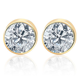 1.00Ct Round Brilliant Cut Natural Quality VS2-SI1 Diamond Stud Earrings in 14K Gold Round Bezel Setting (G/H, VS2-SI1)