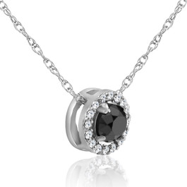 1/2ct Black & White Diamond Pave Halo Pendant 14K White Gold Womens Necklace (J/K, I2-I3)