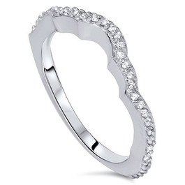 1/5ct Diamond Curved Wedding Ring Enhancer 14K White Gold (G/H, I1-I2)