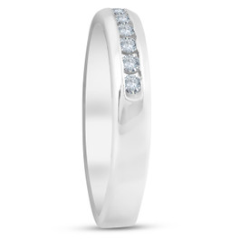 1/4ct Diamond Wedding 14k White Gold Stackable Channel Set Ring High Polished (G/H, I2-I3)