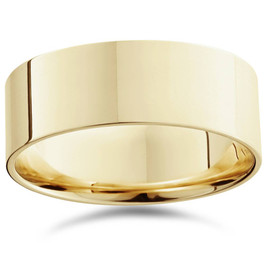8mm Flat High Polished Wedding Band 10K Yellow Gold
