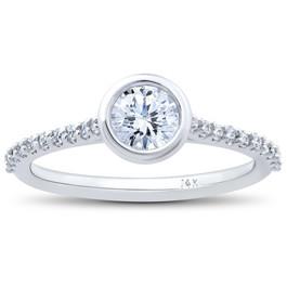 3/4ct Charlotte Lab Grown Diamond Engagement Ring 14k White Gold (F, VS)