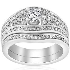 1 1/10ct Diamond Pave Wide Engagement Wedding Ring Set 14K White Gold (G/H, I1-I2)