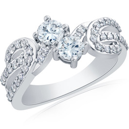 1ct 2 Stone Forever Us Diamond Ring 14kt White Gold ((G-H), SI(1)-SI(2))