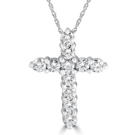 "3CT Diamond Cross Pendant 14K White Gold Womens Round Brilliant Cut 18"" Chain (H-I, I1)"