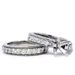 1ct Diamond Engagement Matching Wedding Ring 14K Set (G/H, I1)